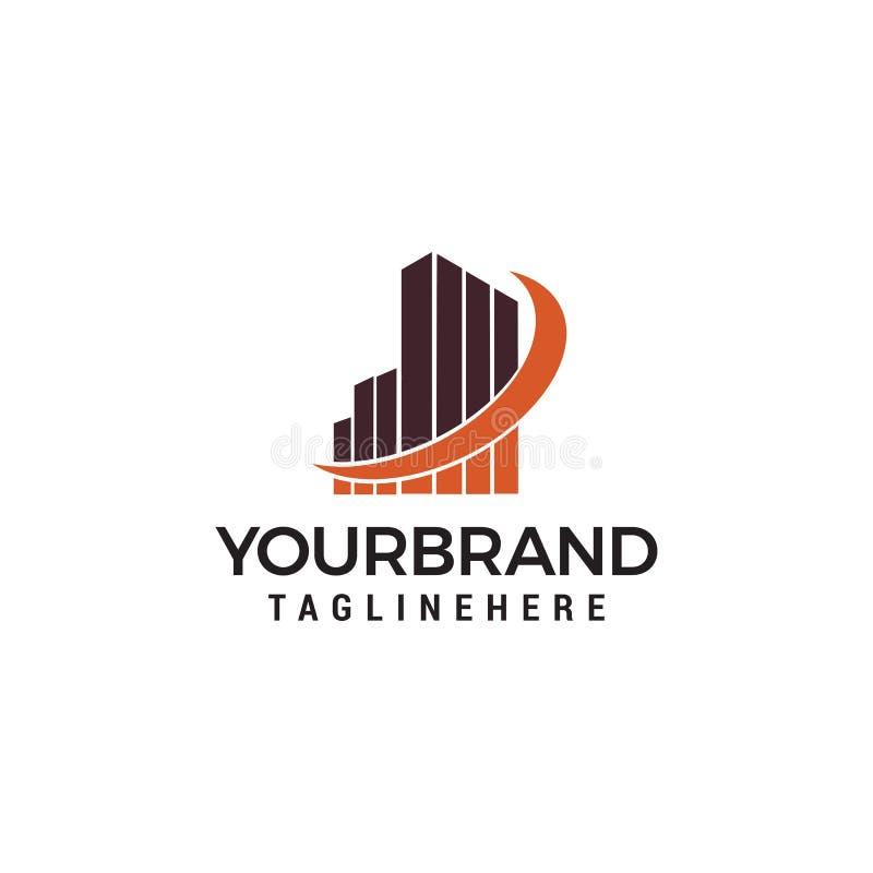 Ejemplo del concepto de la plantilla del logotipo de las propiedades inmobiliarias Elemento constructivo del diseño del rascaciel stock de ilustración