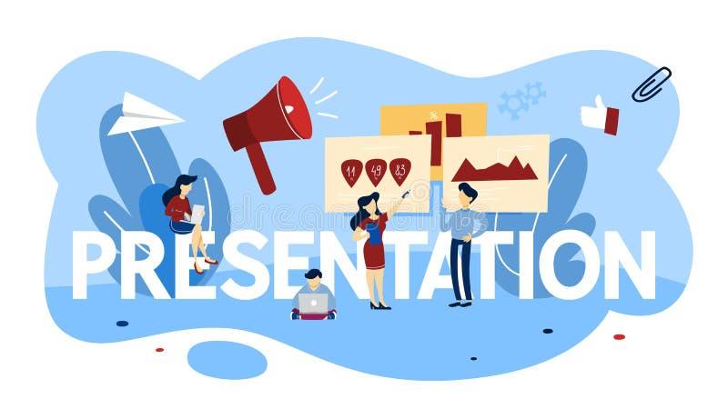 Ejemplo del concepto de la presentación Explicación de gráficos a la audiencia ilustración del vector