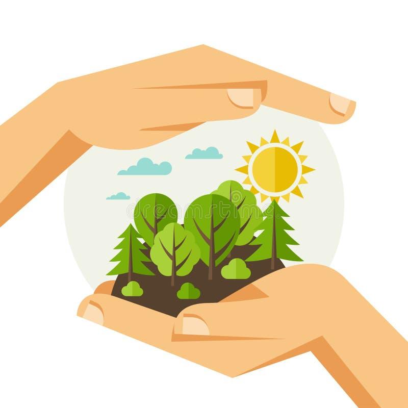 Ejemplo del concepto de la protección de la ecología libre illustration