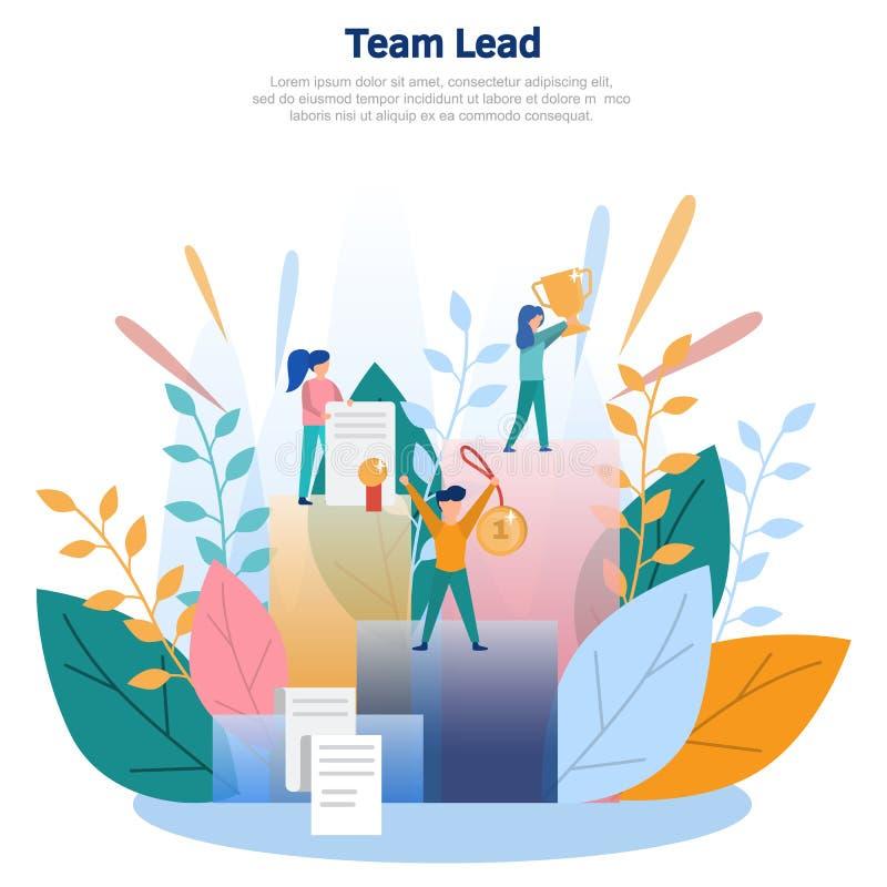Ejemplo del concepto de la ventaja del equipo, carrera del negocio, crecimiento rápido, crecimiento profesional Diseño plano del  libre illustration