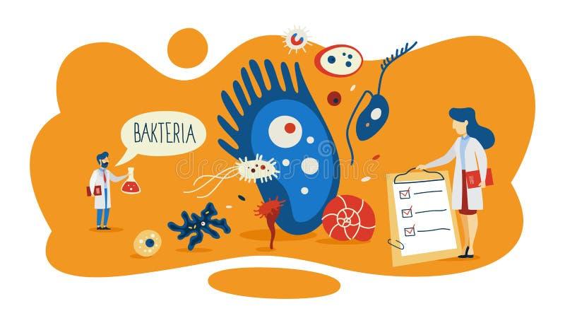 Ejemplo del concepto de las bacterias Área de la medicina y de la microbiología libre illustration