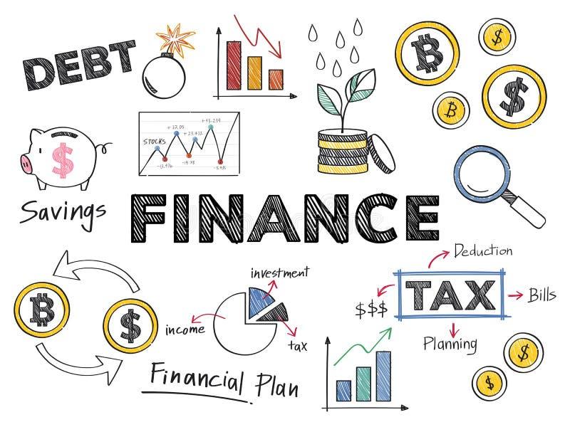Ejemplo del concepto de las finanzas y del funcionamiento financiero libre illustration