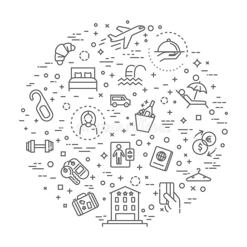 Ejemplo del concepto de los servicios de hotel, línea fina diseño plano libre illustration