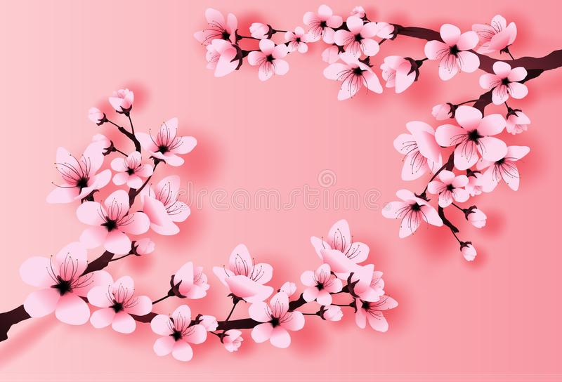 Ejemplo del concepto de papel de la flor de cerezo de la estación de primavera del arte y del arte, primavera con la rama de Saku ilustración del vector