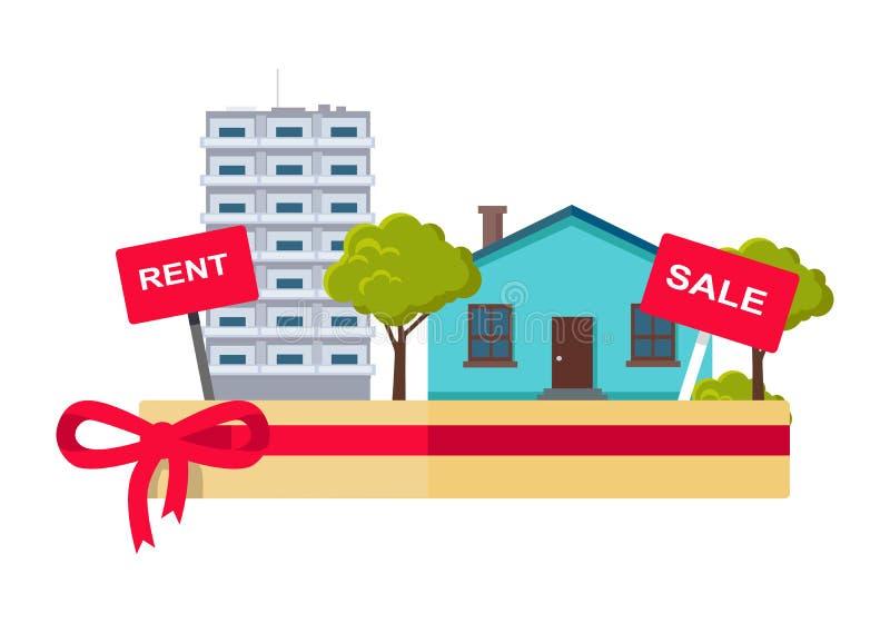 Ejemplo del concepto de Real Estate en diseño plano ilustración del vector