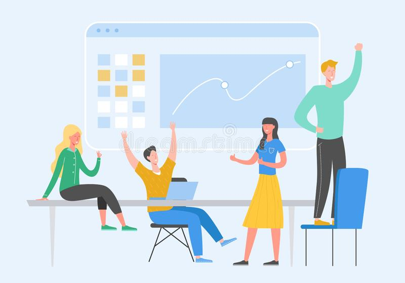 Ejemplo del concepto de Team Success Gente del líder empresarial que celebra la victoria Recompensa del logro del hombre que gana ilustración del vector