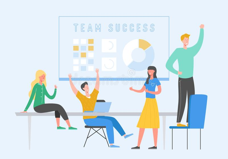 Ejemplo del concepto de Team Success Gente del líder empresarial que celebra la victoria Recompensa del logro del hombre que gana libre illustration