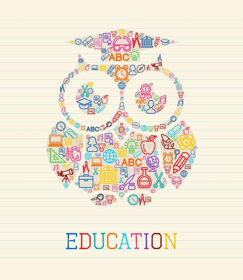 Ejemplo del concepto del búho de la sabiduría de la educación ilustración del vector