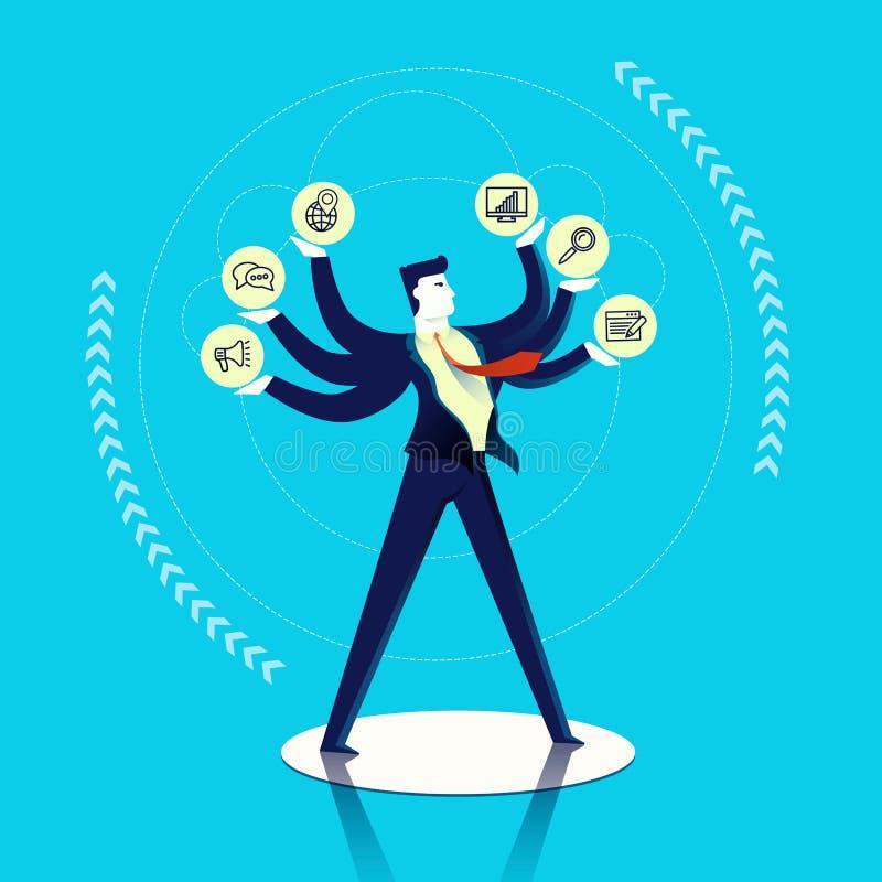Ejemplo del concepto del multitask del hombre de negocios ilustración del vector