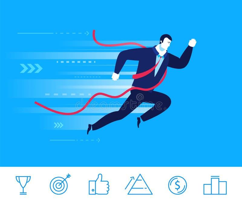 Ejemplo del concepto del negocio del vector El hombre de negocios vino a la meta primero ilustración del vector