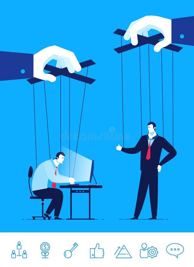 Ejemplo del concepto del negocio del vector Hombre de negocios y encargado una marioneta en las manos de otras stock de ilustración