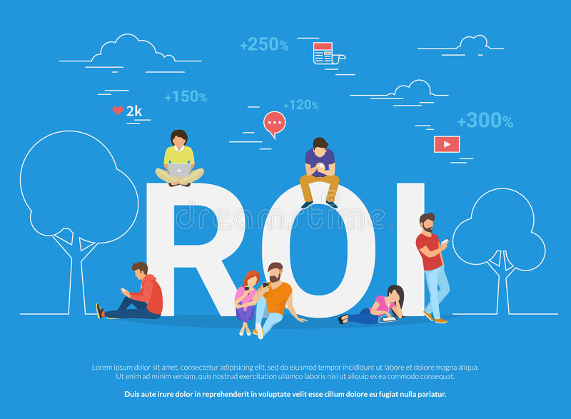 Ejemplo del concepto del ROI de los hombres de negocios que usan los dispositivos para comprar nuevos apps y mercancías digitales libre illustration