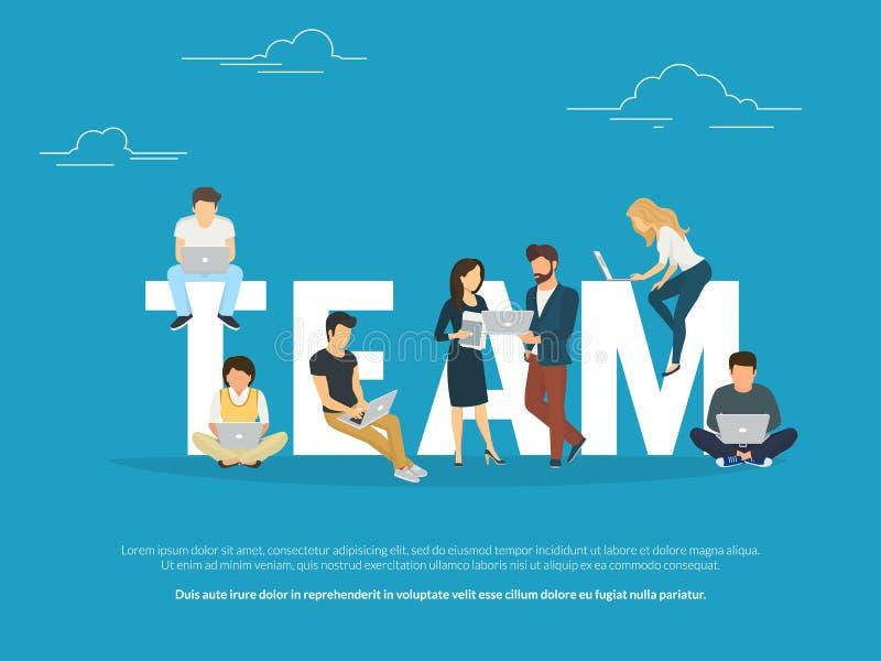 Ejemplo del concepto del trabajo en equipo del proyecto de los hombres de negocios que trabajan junto como equipo libre illustration