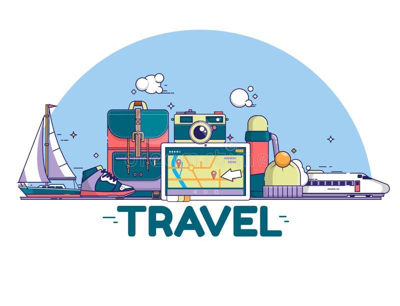 Ejemplo del concepto del viaje Muestras e iconos en el fondo blanco Ilustración del vector stock de ilustración