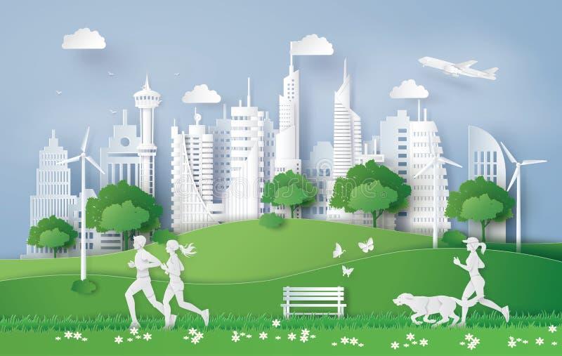 Ejemplo del concepto del eco, ciudad verde en la hoja ilustración del vector