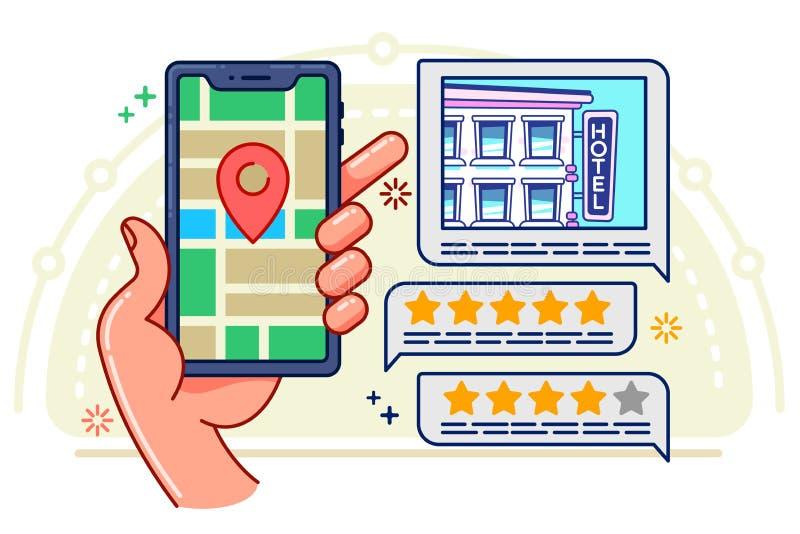 Ejemplo del concepto en estilo plano, búsqueda en línea y la reservación de un hotel ilustración del vector