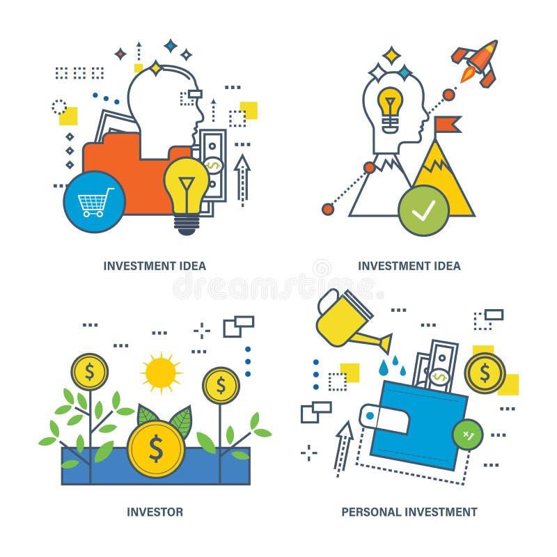 Ejemplo del concepto - inversión, instrumentos y tipos de inversión, el inversor ilustración del vector