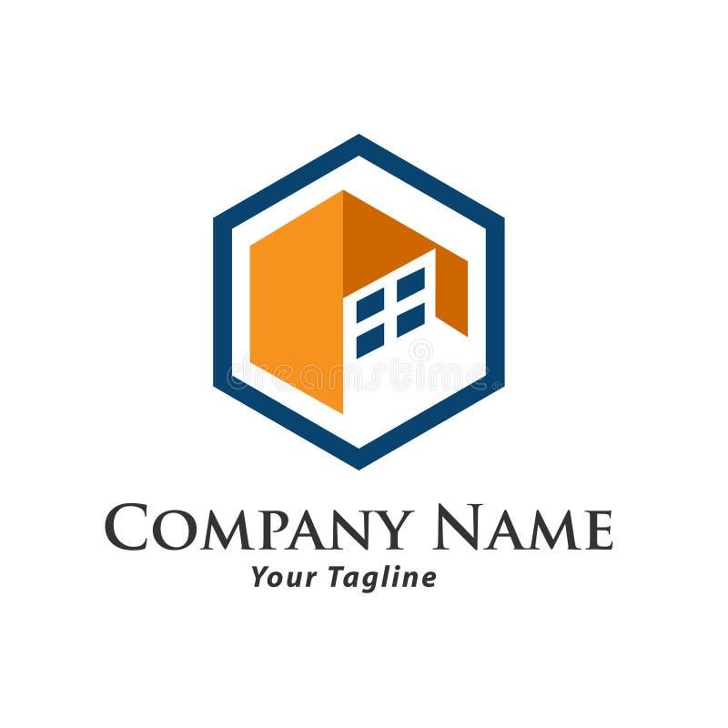 Ejemplo del concepto del logotipo de las propiedades inmobiliarias, logotipo constructivo en estilo gráfico clásico, logotipo de  libre illustration