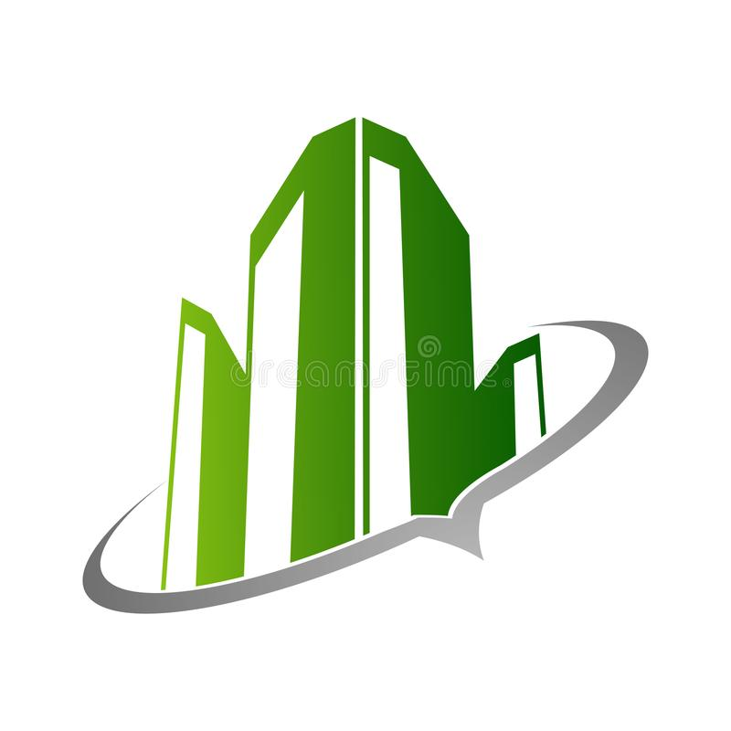 Ejemplo del concepto del logotipo de las propiedades inmobiliarias, logotipo constructivo en g clásico stock de ilustración
