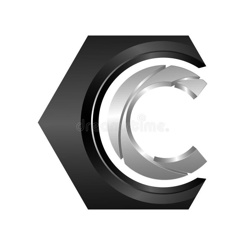 Ejemplo del concepto del logotipo del vector del hexágono C Hexágono po geométrico libre illustration