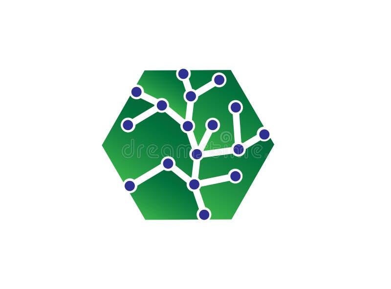 Ejemplo del concepto del logotipo del vector del hexágono, logotipo poligonal geométrico del hexágono con símbolo de la tecno ilustración del vector