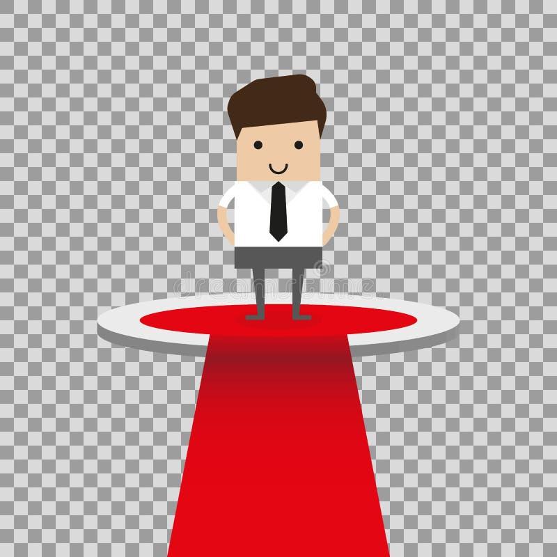 Ejemplo del concepto del negocio de hombres de negocios en el podio, competencia del negocio, concepto del ganador ilustración del vector