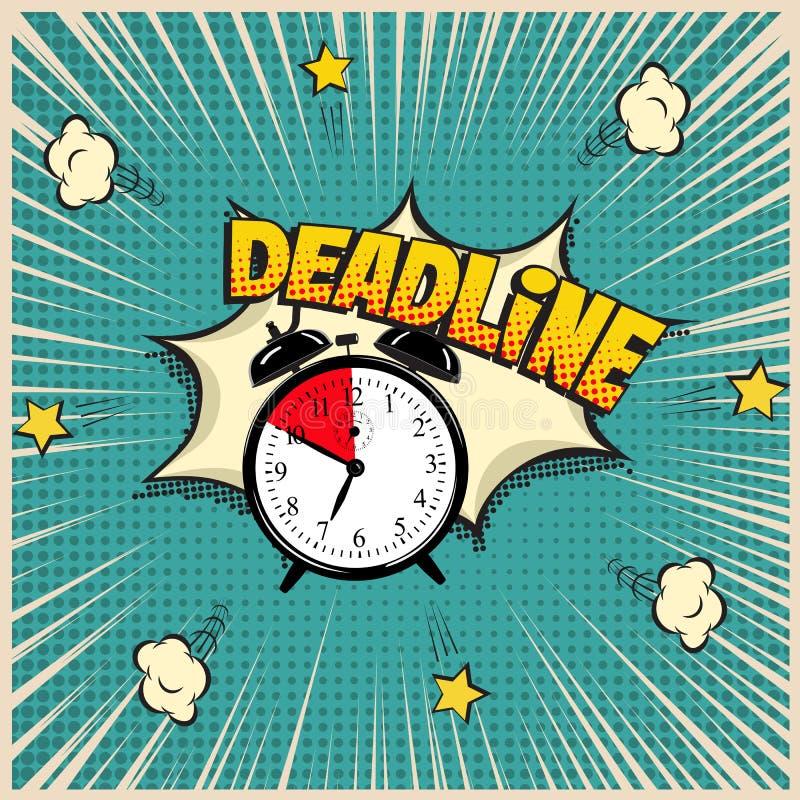 Ejemplo del concepto del plazo en estilo del cómic Vector el despertador y la palabra del plazo en fondo del arte pop stock de ilustración