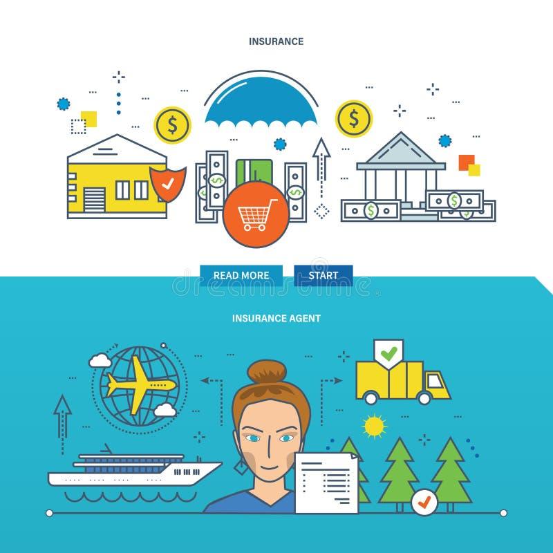 Ejemplo del concepto - seguro de propiedad, agente ilustración del vector