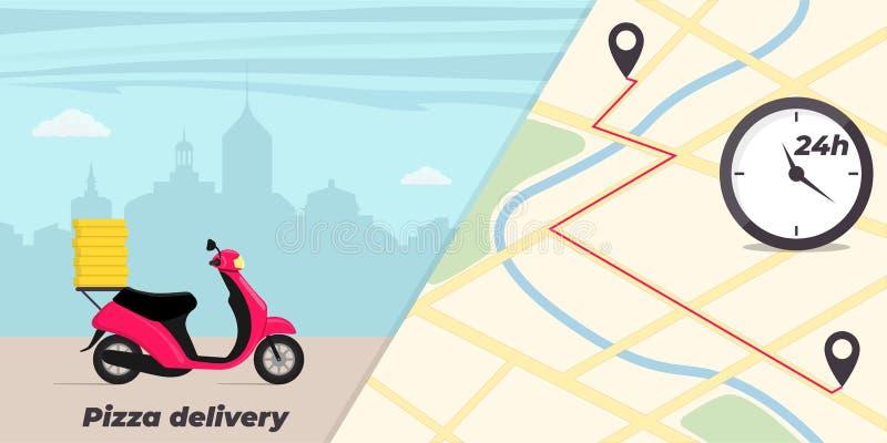 Ejemplo del concepto del servicio de entrega de la pizza Moto con las cajas de la pizza en el tronco Ciudad grande en fondo Mapa  ilustración del vector