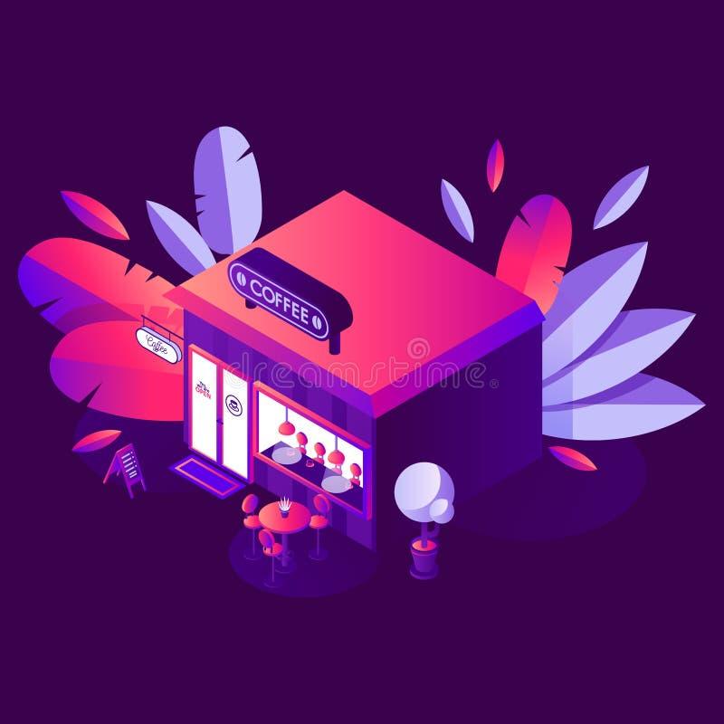 Ejemplo del concepto del vector con escena de la noche El café o las bebidas hace compras en estilo isométrico, la tienda 3d con  ilustración del vector