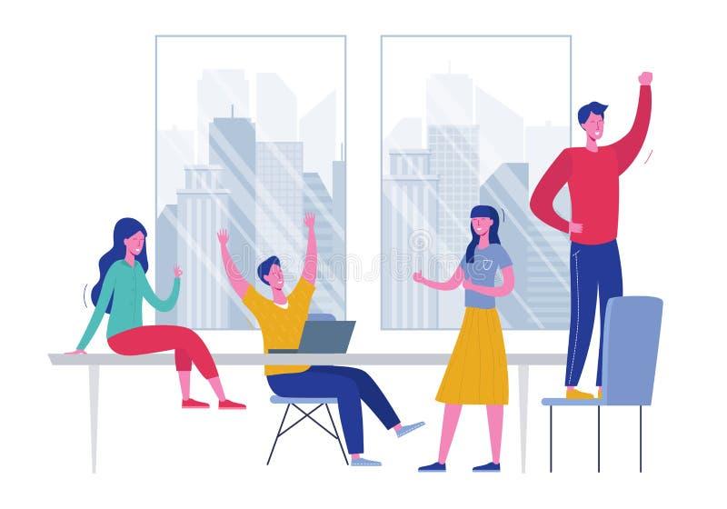 Ejemplo del concepto del vector de Team Success Gente del líder empresarial que celebra la victoria Recompensa del logro del homb ilustración del vector