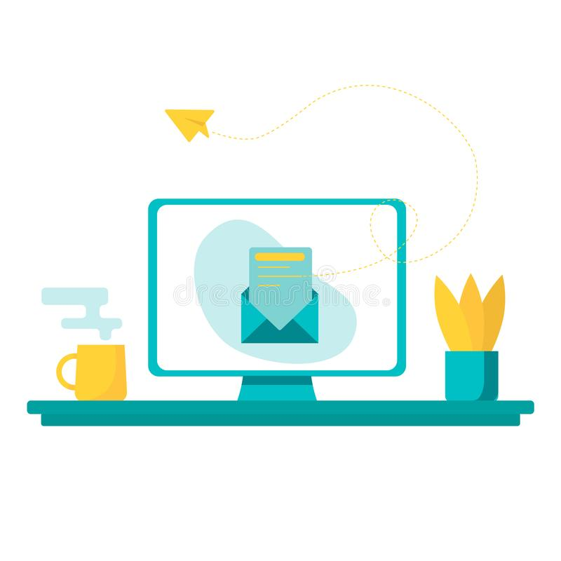 Ejemplo del concepto del vector - proceso social del trabajo del anuncio de la red, nuevo ofrecimiento stock de ilustración