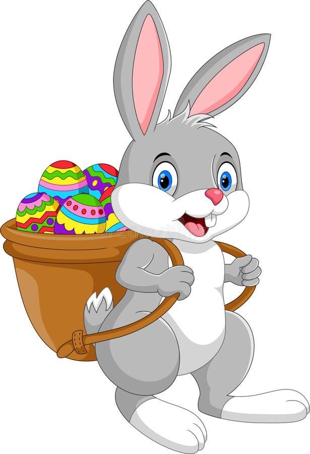 Ejemplo del conejito de pascua de la historieta con la cesta del huevo stock de ilustración