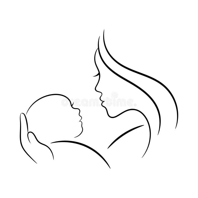 Ejemplo del contorno de la madre y del bebé ilustración del vector