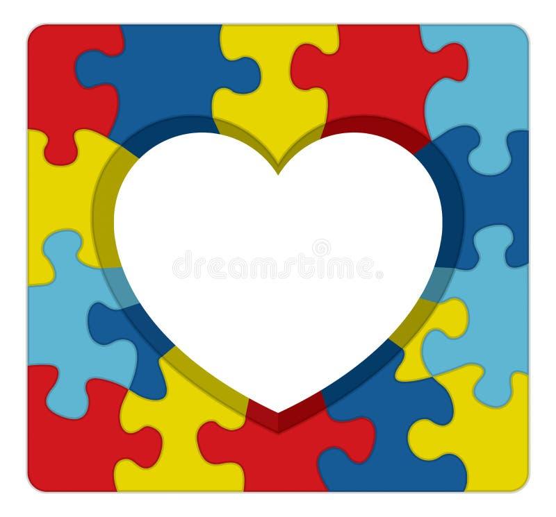 Ejemplo del corazón del rompecabezas de la conciencia del autismo stock de ilustración
