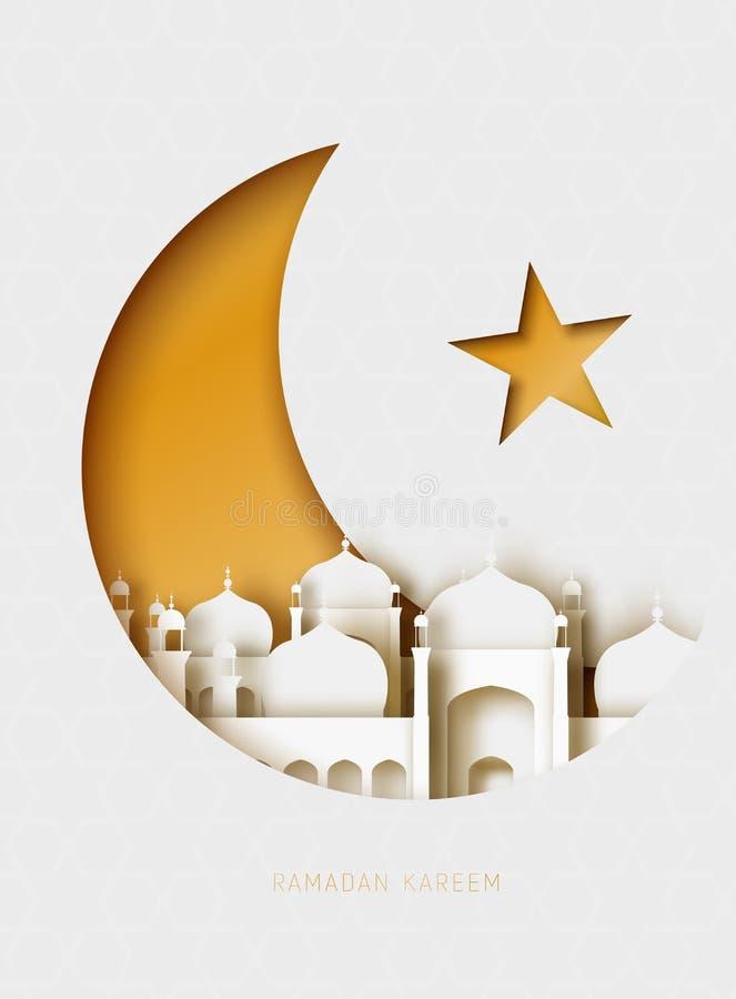 Ejemplo del corte del papel del extracto de Ramadan Kareem 3d Cielo islámico de la mezquita, de la luna y del oro ilustración del vector