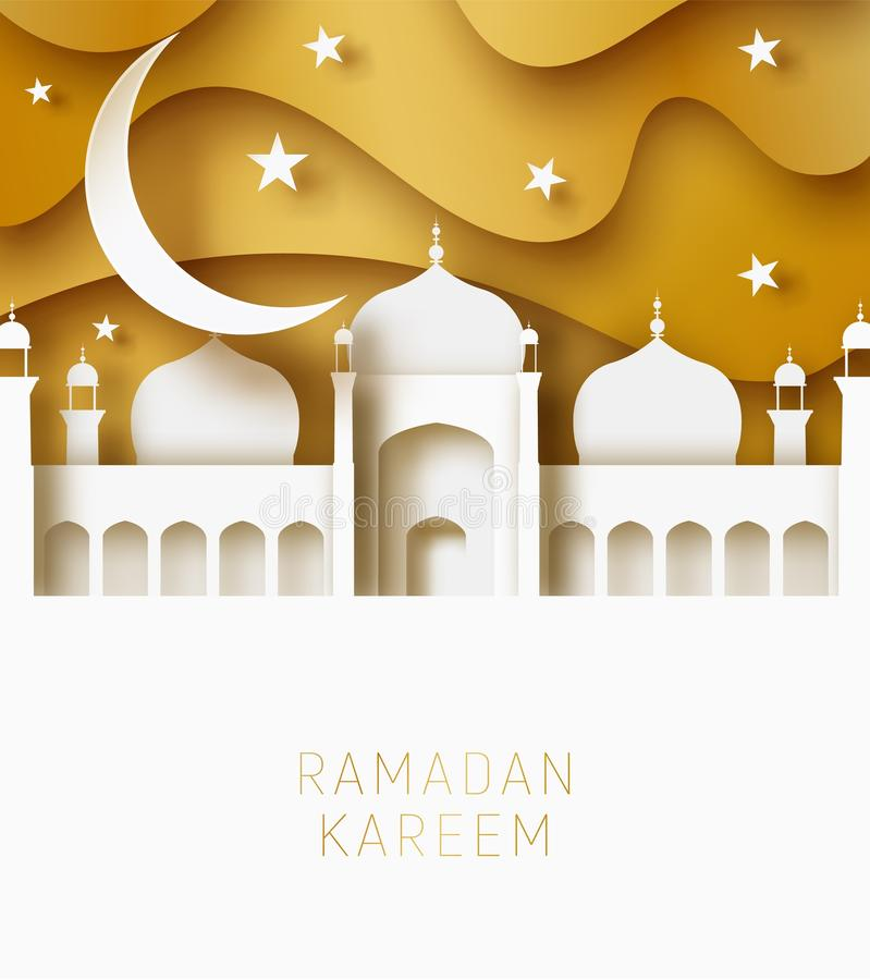 Ejemplo del corte del papel del extracto de Ramadan Kareem 3d Cielo islámico de la mezquita, de la luna y del oro Espacio para el libre illustration
