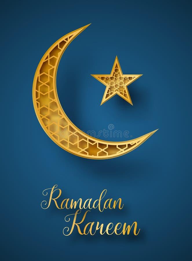 Ejemplo del corte del papel del extracto de Ramadan Kareem 3d Luna y estrella de oro con el modelo geométrico islámico Tarjeta de ilustración del vector