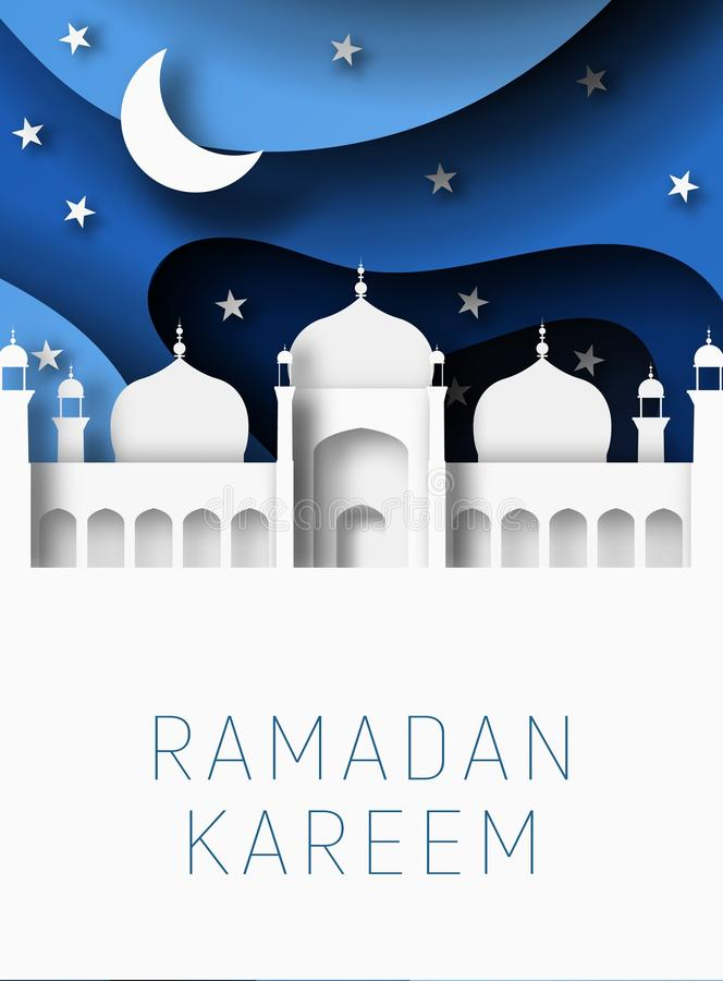 Ejemplo del corte del papel del extracto de Ramadan Kareem 3d Mezquita islámica, luna y cielo azul Espacio para el texto stock de ilustración