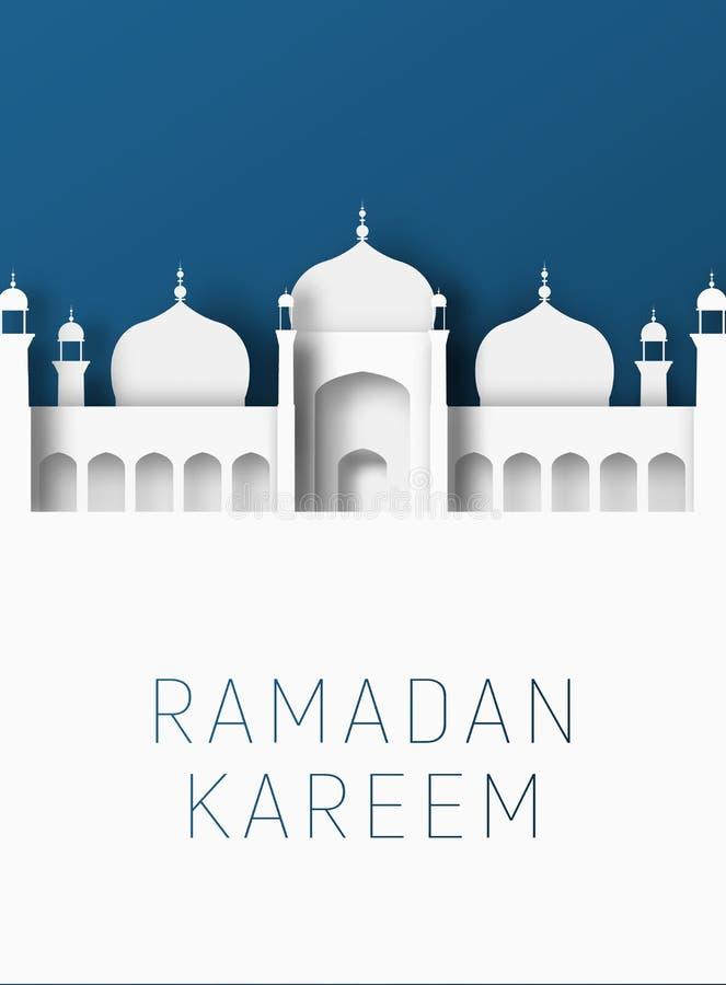 Ejemplo del corte del papel del extracto de Ramadan Kareem 3d Mezquita islámica y cielo azul Espacio para el texto stock de ilustración