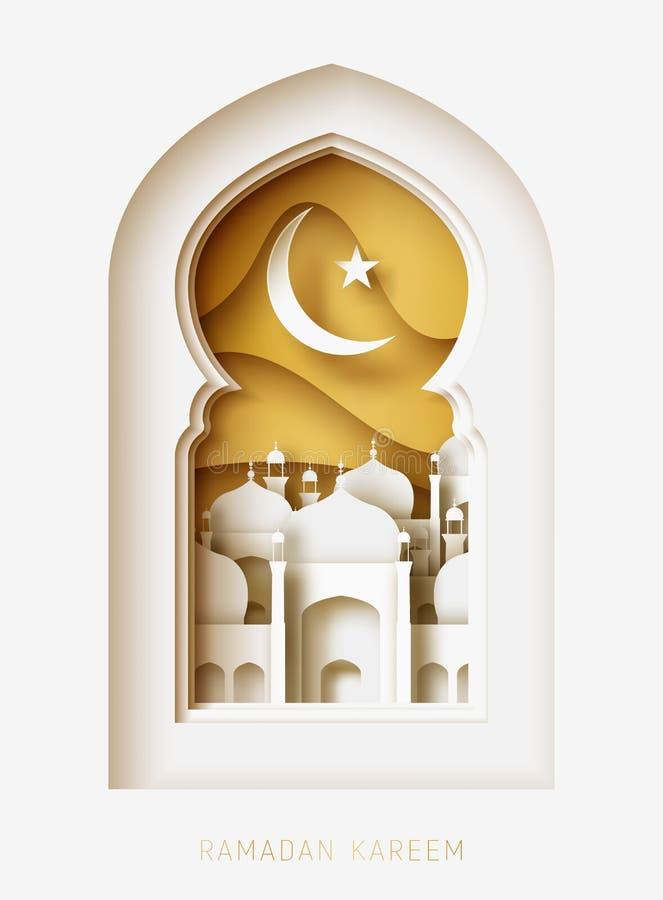 Ejemplo del corte del papel del extracto de Ramadan Kareem 3d Ventana con la mezquita islámica cielo de la luna y del oro stock de ilustración