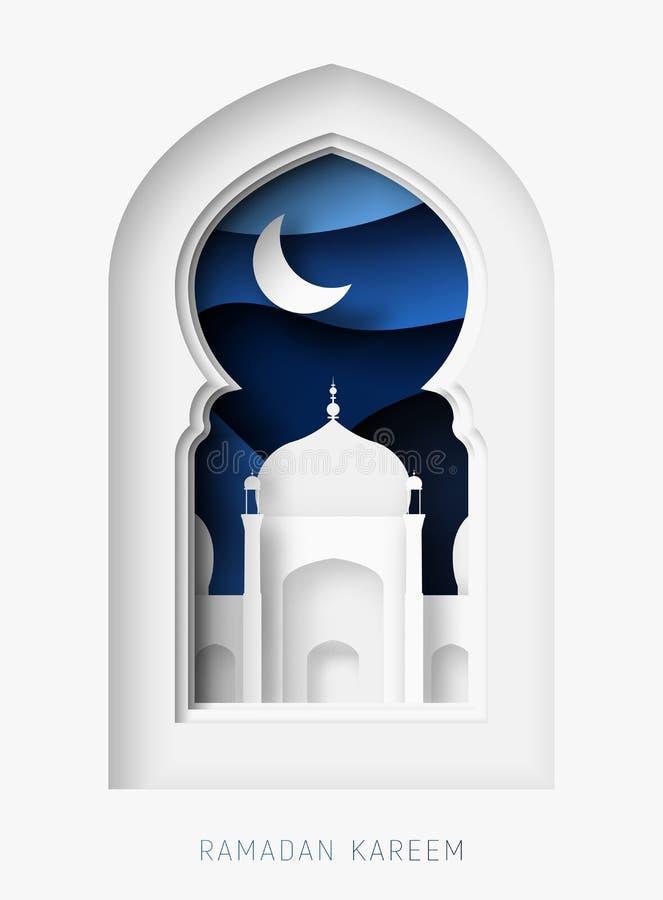 Ejemplo del corte del papel del extracto de Ramadan Kareem 3d Ventana con la mezquita islámica Luna y cielo azul libre illustration