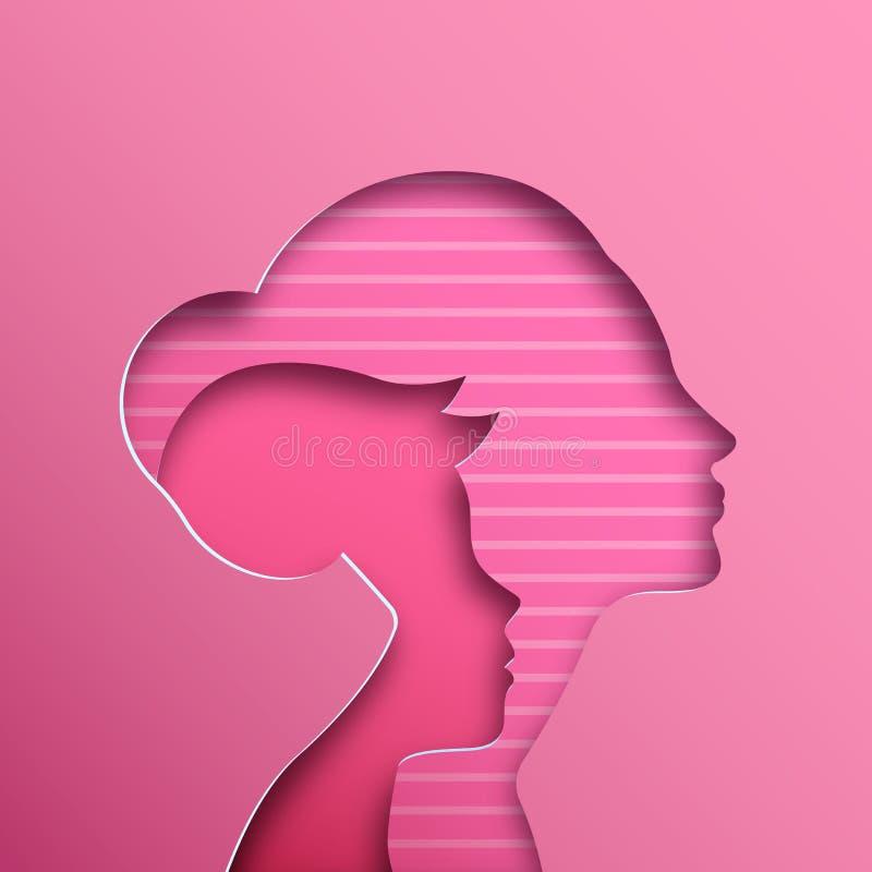 Ejemplo del corte del papel del rosa de la mamá y del niño ilustración del vector