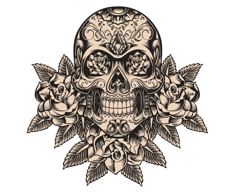 Ejemplo del cráneo y de las rosas libre illustration
