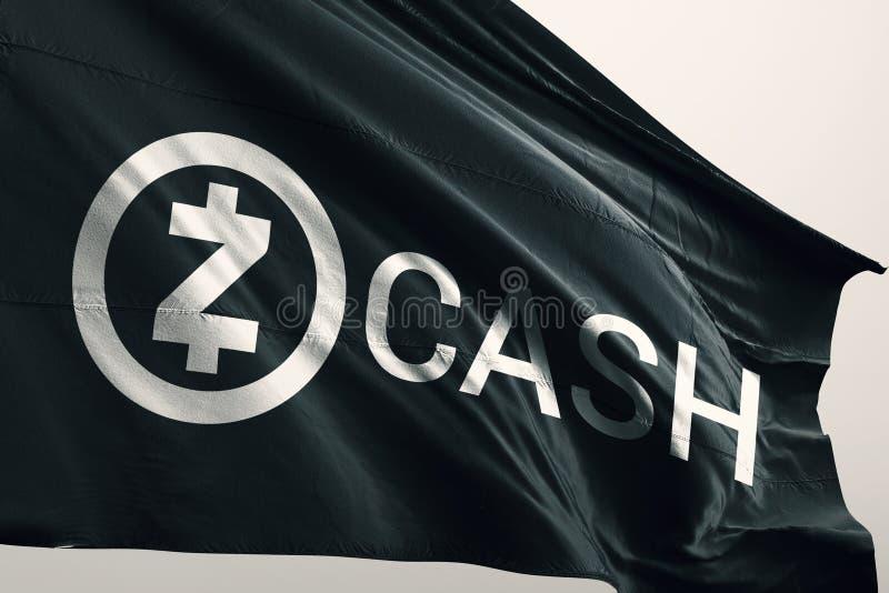 Ejemplo del cryptocurrency 3d de Zcash ZEC stock de ilustración