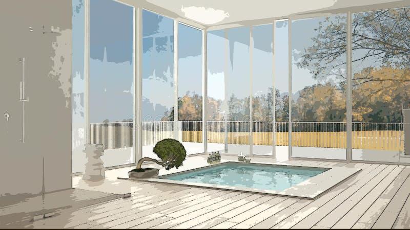 Ejemplo del cuarto de baño moderno acogedor, diseño interior de la historieta Fondo colorido, concepto del apartamento con los mu stock de ilustración