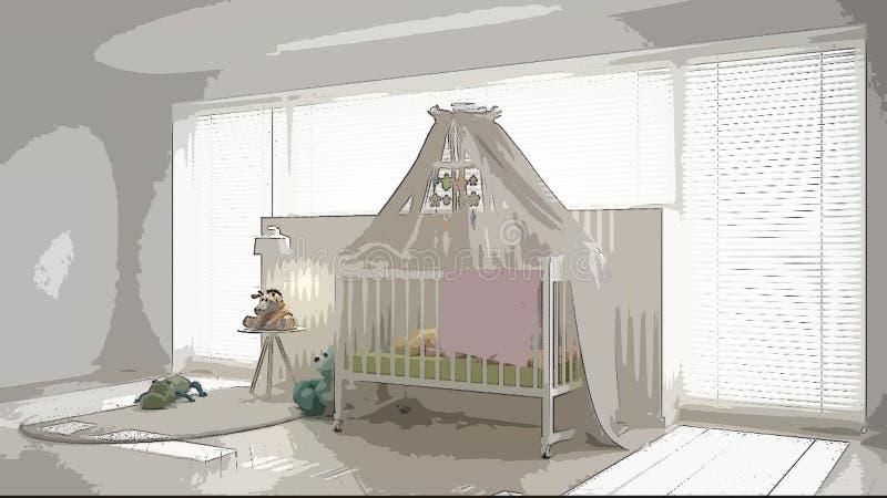Ejemplo del cuarto de niños moderno acogedor, diseño interior de la historieta Fondo colorido, concepto del apartamento con los m ilustración del vector