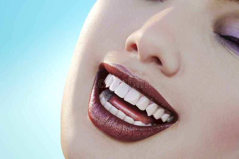 Ejemplo del cuidado dental Dientes perfectos Primer de la sonrisa hermosa y sana de la mujer ilustración del vector