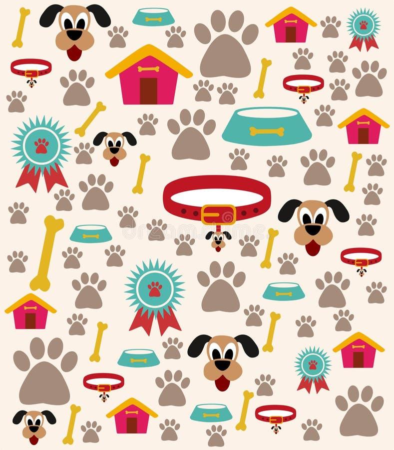 Ejemplo del cuidado del perro con diversos iconos stock de ilustración