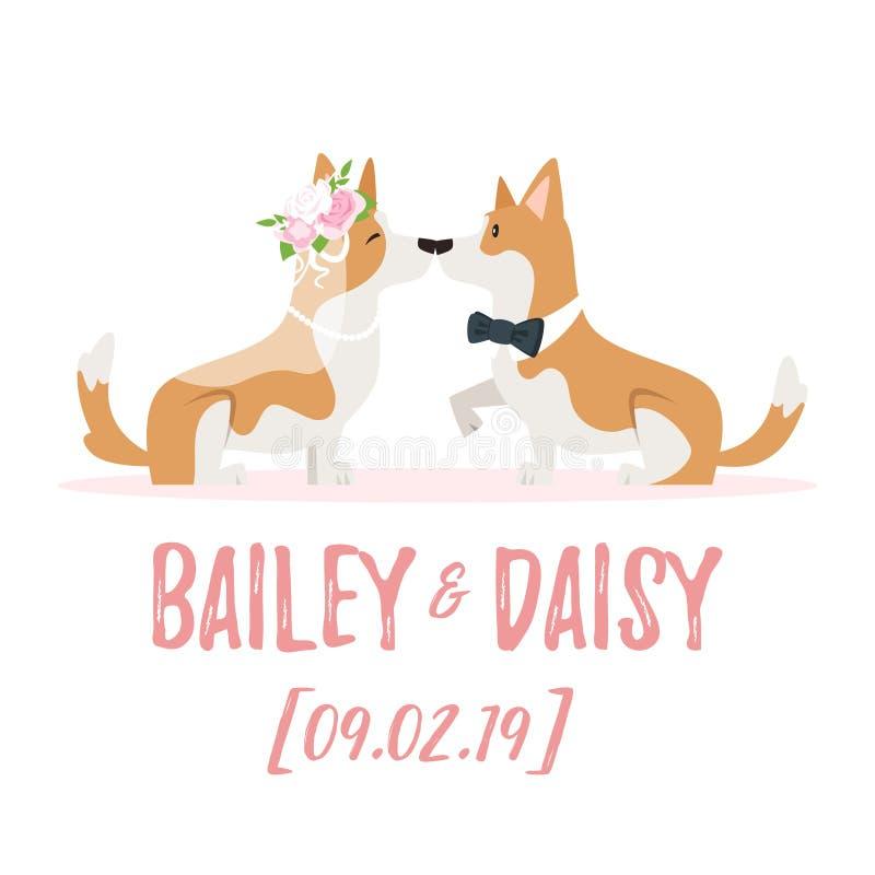 Ejemplo del día de boda con el perro stock de ilustración